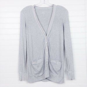 J. Crew Perfect Fit Cotton V-Neck Gray Cardigan